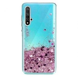 Husa cu apa si glitter Huawei Nova 5T Roz