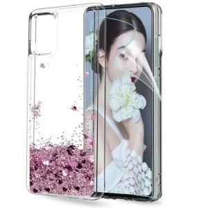 Husa cu apa si glitter Huawei P SMART 2021 Roz