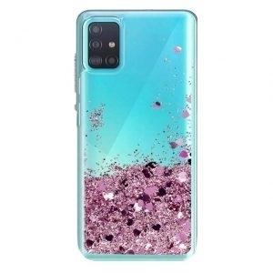 Husa cu lichid si sclipici Samsung A51 Roz