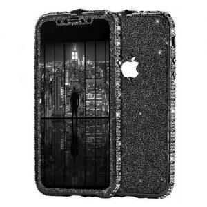 Set Bumper Cristale si Folie Sclipici iPhone 12   12 PRO Black