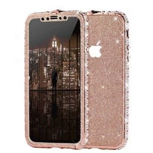 Set Bumper Cristale si Folie Sclipici iPhone 12 12 PRO Roz